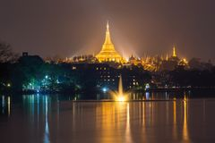 Shwedagon pagoda with lake reflection , Yangon , Myanmar. Choose location with water for create reflect royalty free stock photos