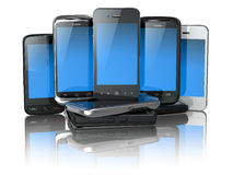 Choose mobile phone. Pile of new cellphones. Stock Photography