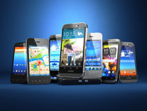 Choose mobile phone. Row of the different smartphones on blue ba. Ckground. 3d Stock Image