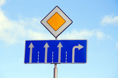 Choose own path on main road. Choose own path. Road signs as choice conception Royalty Free Stock Photo