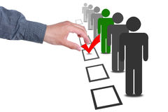 Choose people in selection election vote boxes. Choose a person from a line of people in selection election vote boxes royalty free stock images