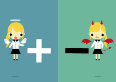Choose positive or negative version2. Businesswoman in angel and devil form that carry plus and minus smybol on two tone color background Royalty Free Stock Photos
