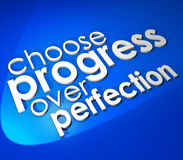 Choose Progress Over Protection 3d Word Blue Background Royalty Free Stock Images