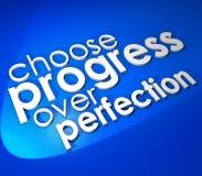 Choose Progress Over Protection 3d Word Blue Background royalty free illustration