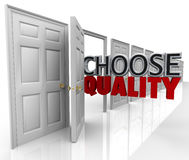 Choose Quality Many Doors Choice. The words Choose Quality in an open door to symbolize picking the best option among many choices or decisions Royalty Free Stock Photography
