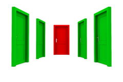 Choose the Right Door - Green and Red Stock Photo