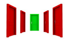 Choose the Right Door - Red and Green Royalty Free Stock Photography