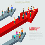 Choose right solution destination flat 3d web isometric concept. Choose right solution destination alternative flat 3d web isometric micro people infographic Stock Image