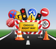 Choose Right Way Realistic Concept. With road signs and traffic lights vector illustration royalty free illustration