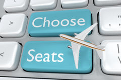 Choose Seats concept. Render illustration of computer keyboard with the print Choose Seats on two adjacent pale blue buttons, and an commercial airliner on top Royalty Free Stock Images