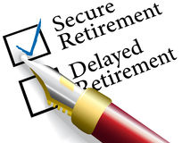 Choose Secure retirement investment. Pen to check choice of financial investments for secure not delayed retirement plan Royalty Free Stock Photo