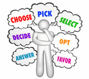 Choose Select Pick Options Thinker Thought Clouds Stock Photos