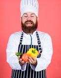 Choose vegetarian lifestyle. Man cook hat apron hold fresh vegetables. Buy fresh vegetables grocery store. Vegetarian. Restaurant. Hipster chief chef vegetarian royalty free stock photo
