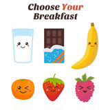 Choose Your breakfast. Healthy lifestyle breakfast. Cute Kawaii Royalty Free Stock Image