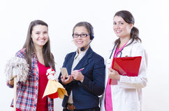 Choose Your Career. A nice gorup of women with different career Royalty Free Stock Images