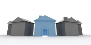 Choose your house. A blue shiny house, standing out from others Stock Photos