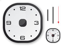 Choose your own hour - black design clock with a. Black design clock with a touch of red and 3 separate needles Royalty Free Stock Photo