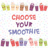 Choose your smoothies. card design Takeout blackberry cherry chocolate coffee  Royalty Free Stock Images