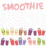 Choose your smoothies. card design Takeout blueberry raspberry strawberry kiwi apple cherry grapes smoothie transparent plastic cu Royalty Free Stock Photo