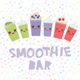 Choose your smoothies. card design Takeout kiwi strawberry raspberry blueberry smoothie transparent plastic cup with straw and whi Royalty Free Stock Image