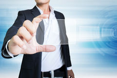 Choose Your Vision. Businessman Hand Holding Futuristic Screen Stock Images