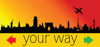 Choose your way with city and plane illustration Stock Photo