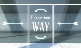 Choose your way sign on front door Royalty Free Stock Photo