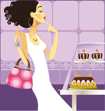She chooses cakes. Modern girl in a white dress in a candy shop selects cakes vector illustration