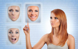 Choosing. Young woman choosing happy face Royalty Free Stock Photo