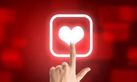 Choosing application. Close u of human hand pushing application icon stock photography