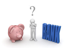 Choosing bank or piggybank. 3d isolated on white background characters series Royalty Free Stock Photos