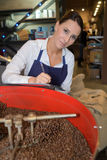 Choosing beans best quality at coffee factory. Choosing the beans of the best quality at coffee factory Royalty Free Stock Photo