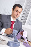 Choosing the best necktie for a working day Stock Photos