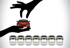Choosing the best red car from sale concept. Care Sale or Car Key Concept Illustration : A hand silhouette choosing red colored car offered by the sales rep from Royalty Free Stock Photo