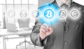 Choosing bitcoins Royalty Free Stock Image