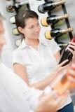 Choosing bottle wine royalty free stock images