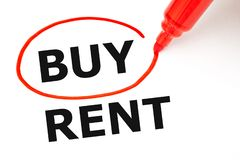 Choosing To Buy Not To Rent Red Marker Concept royalty free stock photo