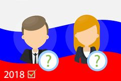 Choosing the candidate. Man and woman with russian flag on background Royalty Free Stock Images