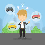 Choosing the car. Confused man decides what car to choose Stock Image