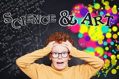 Choosing a Career concept. Shocked child boy and science and arts occupations stock photography