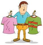 Choosing clothes. Illustration of choosing clothes cartoon royalty free illustration
