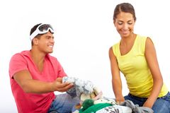 Choosing clothes Stock Image