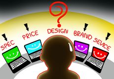 Choosing computer. The reason for choosing computer the best one make you confuse royalty free illustration