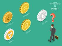 Choosing cryptocurrency flat isometric vector. Business man is thinking which crypto currency is the best for investment: bitcoin, litecoin, ripple, ethereum Stock Photography