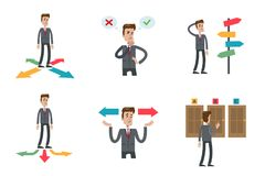 Choosing directions set. Man trying to guess what strategy to pick Royalty Free Stock Images