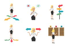 Choosing directions set. Woman trying to guess what strategy to pick Royalty Free Stock Photo