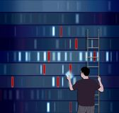 Choosing DNA. Illustration of a man choosing a DNA segment Royalty Free Stock Images