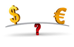 Choosing Between The Dollar or The Euro. Bright, gold US Dollar and Euro signs sit on opposite ends of a gray board which is balanced on a red question mark.  on Stock Image