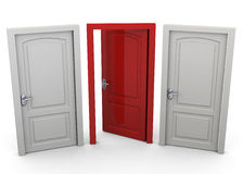 Choosing a Door - 3D Royalty Free Stock Photo