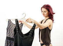 Choosing a dress Stock Photo